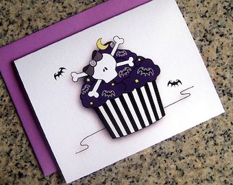 tim burton inspired striped skull cupcake halloween night bats notecards / thank you notes (blank / custom inside) & envelopes - set of 10