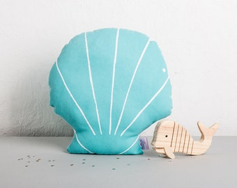 Mermaid Sea Shell Plush Cushion, Nursery Decor, Nautical Cushion, Scatter cushion, Seaside Decor, Gifts for teens, Pastel nursery Cushion.
