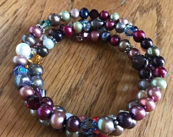 Handmade Wire Wrap Swarovski Crystal and Freshwater Pearl Bracelet - Available in Child and Adult