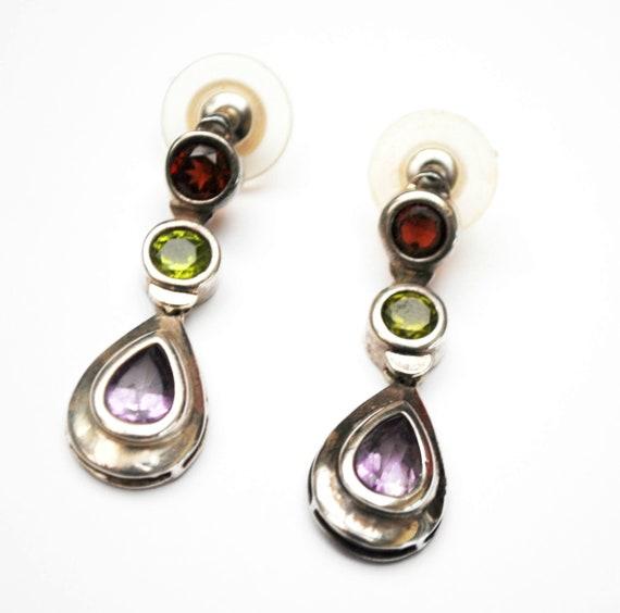 Multi gemstone Sterling dangle Earrings - Purple amethyst -Green peridot - Red garnet - drop pierced earrings