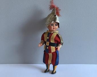 """National costume doll, vintage plastic sleepy eyes. 6.5"""" tall."""