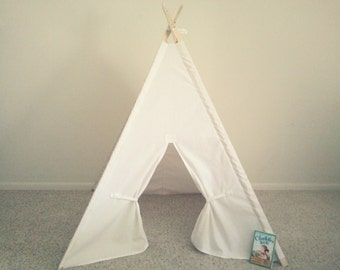 White  Teepee  Canvas Tent White Tipi Wigwam or Kids Fort the teepee guy kids photo prop