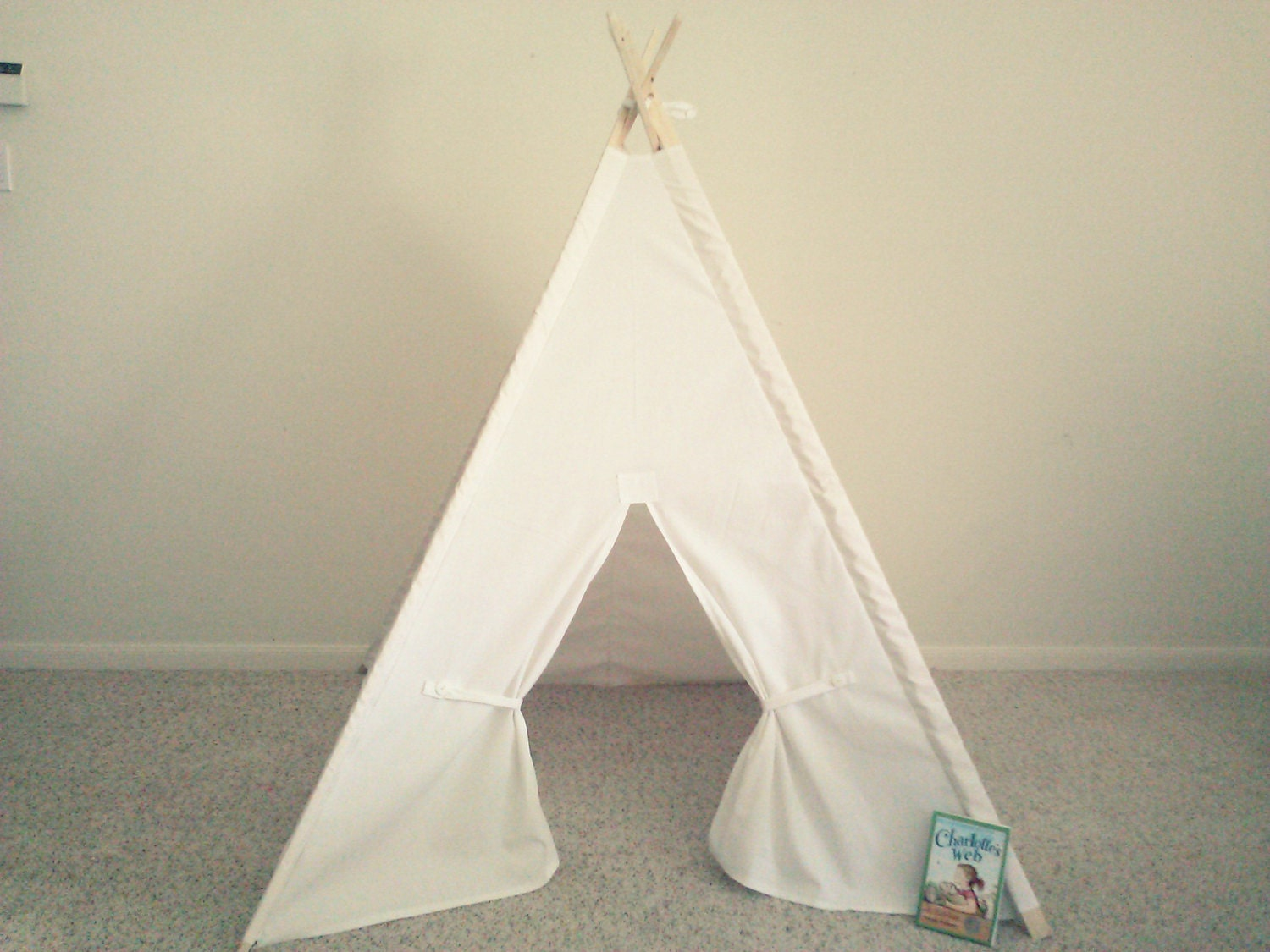 ?zoom & White Teepee Canvas Tent White Tipi Wigwam or Kids Fort the