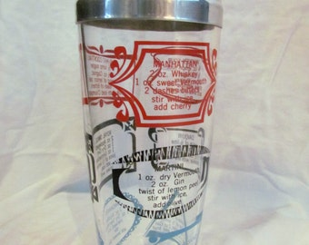 Vintage Glass Martini Shaker with Recipes