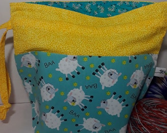 Medium Drawstring Project Bag, Blue and Yellow Funny Sheep, Ready to Ship, RTS, Sock to Sweater Wedge, Tote Bag