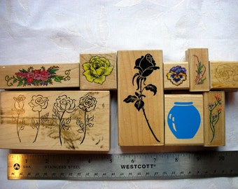 DESTASH  9 Rubberstamps-spring flowers-rose-flower vase-babys breath-tea rose-psx roses-artstamps