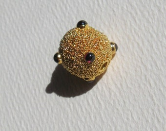 Bali GOLD Vermeil Bead with Garnets and Fine Granulation
