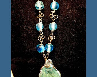 SEA GLASS NECKLACE –- Coca-Cola Pendant On A Wire-Wrapped Recycled Glass Beaded Necklace – Made In Maine