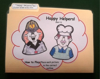 HAPPY HELPERS (Part 1) - Community Helpers - File Folder Game - Ready to play, No digital downloading!
