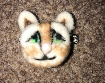 Handmade felted cat brooch