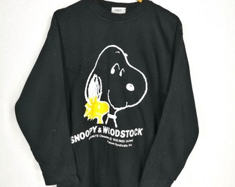 Vintage 90's SNOOPY WOODSTOCK Jumper Sweater Women Medium Charlie Brown Snoopy Peanuts Cool Joe Pullover Crewneck Sweatshirt Size M