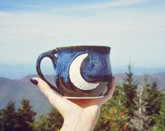 Handmade Ceramic Crescent Moon Mug - Blue and Black