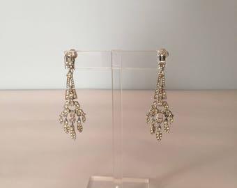 art deco chandelier earrings | clear rhinestone earrings | 1930s inspired chandelier earrings