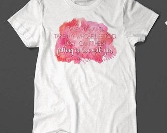 Elvis Shirt - Elvis Love - Watercolor Print - Falling In Love - White Shirt