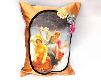 Sleigh Ride Sisters Pillow Handmade Victorian Lady Best Friend Gift Gold Saffron & Cobalt Blue Satin Christmas Holly Berry Pocket Home Decor