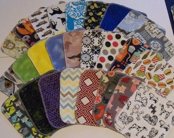 Set of 40 Adult mixed pattern print, reusable cloth napkins, baby wipes, lunch napkins, unpaper napkins