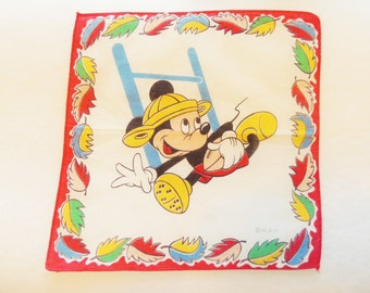 Mickey Mouse handkerchief, Children's hankie,  vintage hankie,1940s 50s hankie  with the signature WDP on the lower right hand corner.