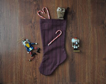 burgundy christmas stocking / maroon minimalist stocking / elegant holiday stocking