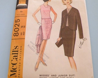 1965 McCalls 8025 Size 12 Misses and Junior Suit and Shell Uncut and Complete