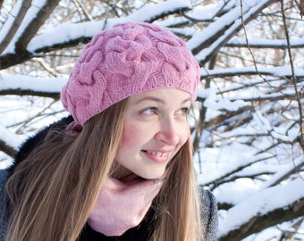 Pink hand knit women's beret. Winter hand knit wool hat. Women's pink  beret.  Women hat wool