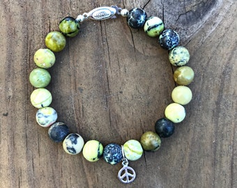 Yellow turquoise bracelet with sterling silver.