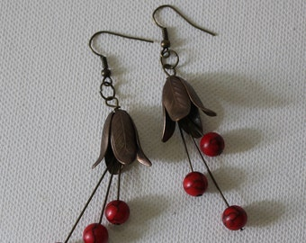 Brass Tulip Earrings With Red Turquoise Stones/Brass Metal Earrings/Flower Earrings/Earrings Handmade/FAST SHIPPING/Brass Dangle Earrings