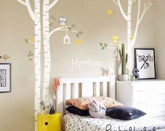 Birch Trees Wall Decal - Owl Nursery Wall Decal