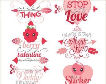 Valentine Clipart Girl Sayings  -Personal and Limited Commercial Use- Cute Valentine Clipart Titles