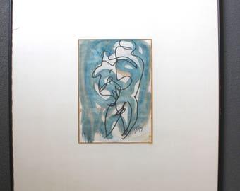 Roberto Sebastián Echaurren Matta Original Vintage Surreal Abstract Expressionist Biomorphism Watercolor Gouache Painting Mother & Child