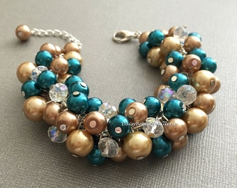 Teal and Champagne Bracelet Pearl Jewelry Bridal Gift Bridesmaid Bracelet Teal Champagne Brown Maid of Honor Prom Chunky Bracelet