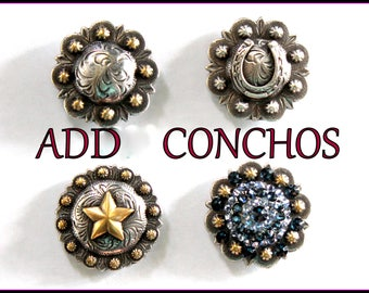 Add Metal Conchos - For your custom design jewelry organizer display stand.  12 Gauge Shot Gun Shell, Horseshoe, Crystal Bling