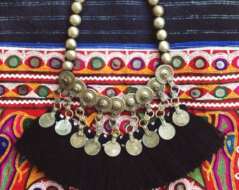 Gulnaz Necklace Silver coin black tassel necklace