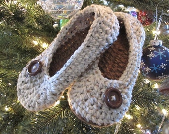 Crochet Slippers, Womens crochet slippers, House Slippers, tan flecks and cafe, Oma Slippers, custom made