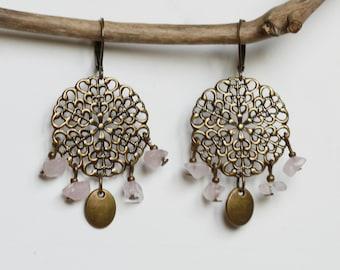 Earrings East quartz pink and bronze