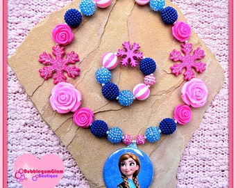 Frozen Necklace, Anna Necklace, Anna Pendant, Mirror Pendant, Princess Anna, Snowflake Necklace, chunky girls' necklace