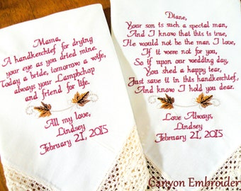 Mom Gift, Mother In-Law, Wedding Gift, Embroideryed Wedding Handkerchiefs, Gift for Mom Mother In Law Wedding Gifts By Canyon Embroidery