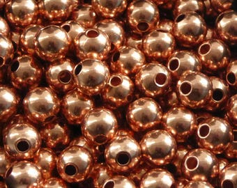 10 pcs - 8 mm copper beads - copper beads - 8 mm beads - round seamless beads -pure copper findings