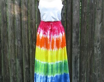 Long Tie-Dyed Rainbow Rayon Skirt