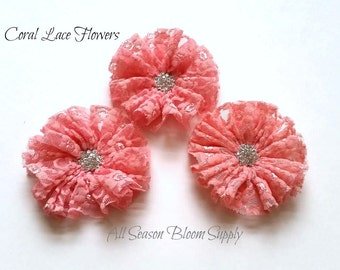 "Coral Lace Collection Flower - Coral - Lace Flower - Fabric Flower - Ciffon Flower - 2.8-3"" - Lace Flower - DIY -Headband - Accessory"
