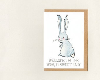 WELCOME to the WORLD SWeET BABY . greeting card . new baby . baby shower . bunny nursery decor . twins . birthday . personalise . australia