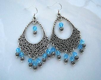 Light Blue Dangle Earrings Blue Filigree Dangle