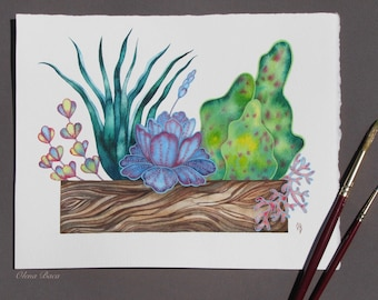 Succulent Art, Botanical illustration, Succulent watercolor painting, Original art-Gift Idea-Gift for Friend-Gift Women-Gift for Girlfriend-