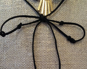 Black Suede Cord  Choker style adorned with Gold colored bars and Marble Smoke Gray Beads