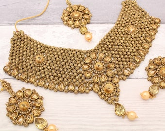 Antique Gold Indian Bollywood Necklace Set with Earrings & Tikka Headpiece Bridal Wedding Jewellery Set