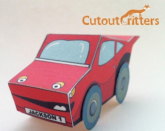 Racing CAR, cutout Critters template for a make your own Racing car, includes black and white version for you to colour your own car