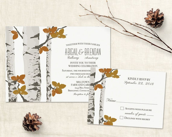 Rustic Fall Wedding Invitations: Rustic Fall Wedding Invitation Template Printable Birch Tree