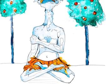 meditating myrtle: print