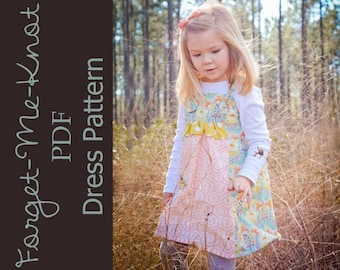 Forget-Me-Knot - Girl's Knot Dress Pattern PDF. Sewing Pattern for Girls.  Sizes 1 - 9/10 included
