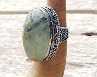 Prehnite ring 925 silver size 8.5