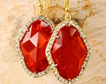 Pumpkin Orange Rhombus Earrings with Diamonds Orange Earrings Crystal drop Earrings Fall Earrings Bridesmaid Earrings Gold Earrings Mom Gift